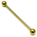 Titanium Industrial Scaffold Barbell 1.6mm 30-46mm 34mm, 5mm, Gold