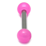 Acrylic Neon Ball Micro Barbell 1.2mm 1.2g, 6.0L, 3.0mm top ball / pink