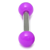 Acrylic Neon Ball Micro Barbell 1.2mm 1.2g, 8.0L, 3.0mm top ball / purple