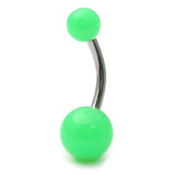 Acrylic Neon Belly Bar Gauge: 1.6mm, Length 8mm / Green