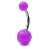 Acrylic Neon Belly Bar Gauge: 1.6mm, Length 8mm / Purple