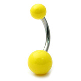 Acrylic Neon Belly Bar Gauge: 1.6mm, Length 8mm / Yellow