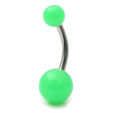 Acrylic Neon Belly Bar Gauge: 1.6mm, Length 10mm / Green
