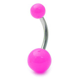 Acrylic Neon Belly Bar Gauge: 1.6mm, Length 10mm / Pink