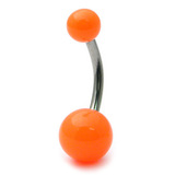 Acrylic Neon Belly Bar Gauge: 1.6mm, Length 12mm / Orange