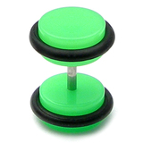 Acrylic Neon Fake Plug Neon Green / Large - 8mm diameter Disks