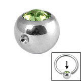 Steel Clip in Jewelled Balls 3mm light green