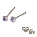 Silver Crystal Studs ST11 - ST12 - ST13 - Claw Set Tanzanite / ST11. Claw set. 1.5mm jewel
