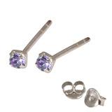 Silver Crystal Studs ST11 - ST12 - ST13 - Claw Set Tanzanite / ST12. Claw set. 2.0mm jewel