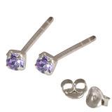 Silver Crystal Studs ST11 - ST12 - ST13 - Claw Set Tanzanite / ST13. Claw set. 2.5mm jewel