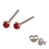 Silver Crystal Studs ST11 - ST12 - ST13 - Claw Set Red / ST11. Claw set. 1.5mm jewel