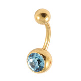Gold Plated Steel Jewelled Belly Bars 1.6mm, 8mm, Light Blue