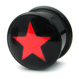 Acrylic Logo Plugs 6-14mm 6mm, Red Star