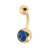 Gold Plated Steel Jewelled Belly Bars 1.6mm, 8mm, Capri Blue