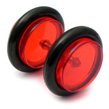 Acrylic Fake Plugs Red / Medium - 6mm diameter Disks