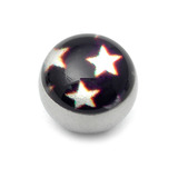 Steel Logo Balls - Pictures 1.6mm, 6mm, Multi Star (White stars on Black)