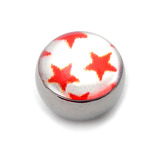 Steel Logo Balls - Pictures 1.6mm, 6mm, Multi Star (Red stars on White)