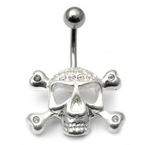 Belly Bar - Jewelled Skull and Crossbones 1.6mm, 10mm(most popular size), Crystal Clear