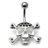 Belly Bar - Jewelled Skull and Crossbones 1.6mm, 10mm(most popular size), Jet Black
