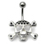 Belly Bar - Jewelled Skull and Crossbones - SKU 15639