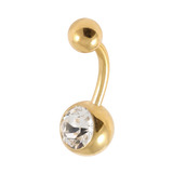 Gold Plated Steel Jewelled Belly Bars 1.6mm, 10mm, Crystal Clear