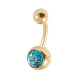Gold Plated Steel Jewelled Belly Bars 1.6mm, 10mm, Turquoise