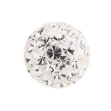 Smooth Glitzy Threaded Balls - one only 1.2mm, 3mm, Crystal Clear