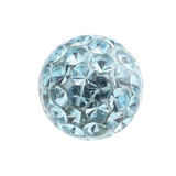 Smooth Glitzy Threaded Balls - one only 1.2mm, 3mm, Light Blue