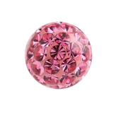 Smooth Glitzy Threaded Balls - one only 1.2mm, 3mm, Pink