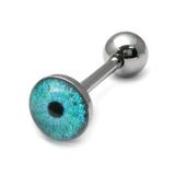 Steel Logo Tongue Bars (8mm Disk) Cyber Eyes (Blue)