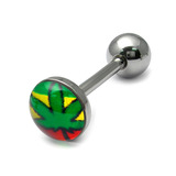 Steel Logo Tongue Bars (8mm Disk) Rasta Ganja