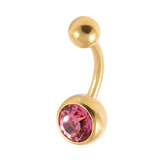 Gold Plated Steel Jewelled Belly Bars 1.6mm, 10mm, Pink