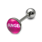 Steel Logo Tongue Bars (8mm Disk) Angel