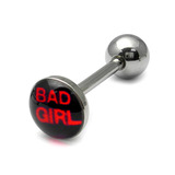 Steel Logo Tongue Bars (8mm Disk) Bad Girl