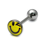 Steel Logo Tongue Bars (8mm Disk) Winkie Smiley