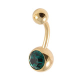 Gold Plated Steel Jewelled Belly Bars 1.6mm, 10mm, Dark Green