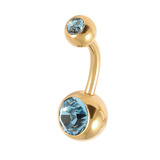 Gold Plated Steel Double Jewelled Belly Bars 1.6mm, 8mm, Light Blue