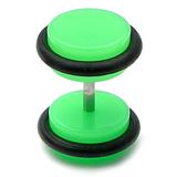 Acrylic Neon Fake Plug Neon Green / Medium - 6mm diameter Disks