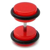 Acrylic Neon Fake Plug Neon Red / Medium - 6mm diameter Disks