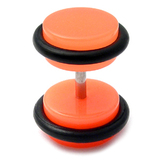 Acrylic Neon Fake Plug Neon Orange / Small - 4mm diameter Disks