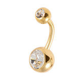 Gold Plated Steel Double Jewelled Belly Bars 1.6mm, 10mm, Crystal Clear