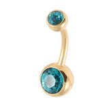 Gold Plated Steel Double Jewelled Belly Bars Turquoise / 10