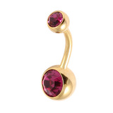 Gold Plated Steel Double Jewelled Belly Bars 1.6mm, 10mm, Fuchsia