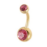 Gold Plated Steel Double Jewelled Belly Bars 1.6mm, 10mm, Pink