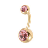 Gold Plated Steel Double Jewelled Belly Bars Light Pink / 10