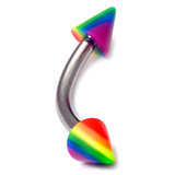 Acrylic Rainbow Micro Curved Barbell 1.2mm 1.2mm Gauge, 8mm Length / 3mm Cones