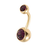 Gold Plated Steel Double Jewelled Belly Bars 1.6mm, 10mm, Purple