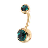 Gold Plated Steel Double Jewelled Belly Bars 1.6mm, 10mm, Dark Green