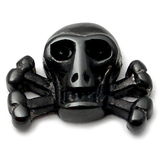Black Steel Threaded Attachment - Skull and Crossbones 1.2mm and 1.6mm - SKU 16076