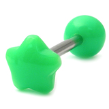 Acrylic Neon Star Barbell Gauge: 1.6mm, Length 12mm / green